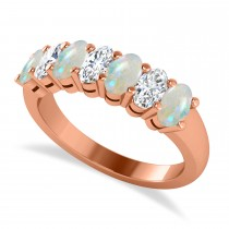 Oval Diamond & Opal Seven Stone Ring 14k Rose Gold (1.39ct)