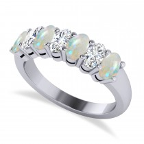 Oval Diamond & Opal Seven Stone Ring 14k White Gold (1.39ct)