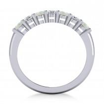 Oval Diamond & Opal Seven Stone Ring 14k White Gold (1.39ct)