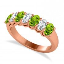 Oval Diamond & Peridot Seven Stone Ring 14k Rose Gold (1.87ct)