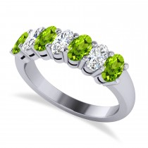 Oval Diamond & Peridot Seven Stone Ring 14k White Gold (1.87ct)