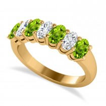 Oval Diamond & Peridot Seven Stone Ring 14k Yellow Gold (1.87ct)