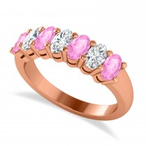 Oval Diamond & Pink Sapphire Seven Stone Ring 14k Rose Gold (2.15ct)