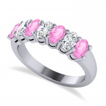 Oval Diamond & Pink Sapphire Seven Stone Ring 14k White Gold (2.15ct)