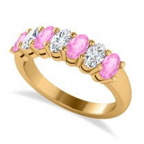 Oval Diamond & Pink Sapphire Seven Stone Ring 14k Yellow Gold (2.15ct)