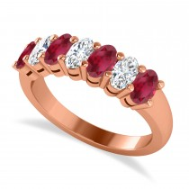 Oval Diamond & Ruby Seven Stone Ring 14k Rose Gold (2.15ct)