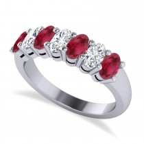 Oval Diamond & Ruby Seven Stone Ring 14k White Gold (2.15ct)