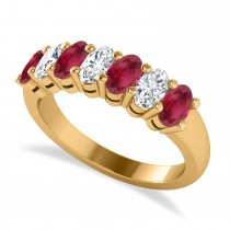 Oval Diamond & Ruby Seven Stone Ring 14k Yellow Gold (2.15ct)