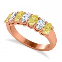Oval Yellow & White Diamond Seven Stone Ring 14k Rose Gold (1.75ct)