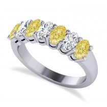 Oval Yellow & White Diamond Seven Stone Ring 14k White Gold (1.75ct)