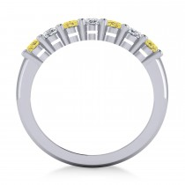 Oval Yellow & White Diamond Seven Stone Ring 14k White Gold (1.75ct)|escape