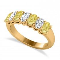 Oval Yellow & White Diamond Seven Stone Ring 14k Yellow Gold (1.75ct)