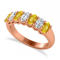 Oval Diamond & Yellow Sapphire Seven Stone Ring 14k Rose Gold (2.15ct)