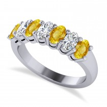 Oval Diamond & Yellow Sapphire Seven Stone Ring 14k White Gold (2.15ct)