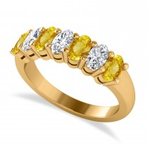 Oval Diamond & Yellow Sapphire Seven Stone Ring 14k Yellow Gold (2.15ct)
