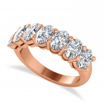 Oval Diamond Seven Stone Wedding Band 14k Rose Gold (3.50ct)