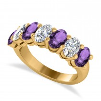Oval Diamond & Amethyst Seven Stone Ring 14k Yellow Gold (3.30ct)