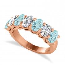 Oval Diamond & Aquamarine Seven Stone Ring 14k Rose Gold (2.70ct)