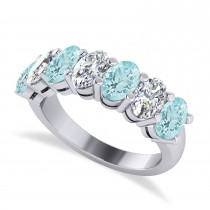Oval Diamond & Aquamarine Seven Stone Ring 14k White Gold (2.70ct)