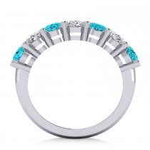 Oval Blue & White Diamond Seven Stone Ring 14k White Gold (3.50ct)