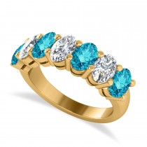 Oval Blue & White Diamond Seven Stone Ring 14k Yellow Gold (3.50ct)