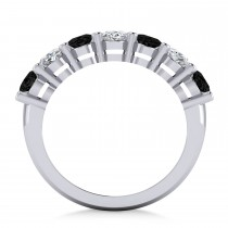 Oval Black & White Diamond Seven Stone Ring 14k White Gold (3.50ct)