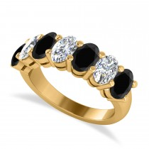 Oval Black & White Diamond Seven Stone Ring 14k Yellow Gold (3.50ct)