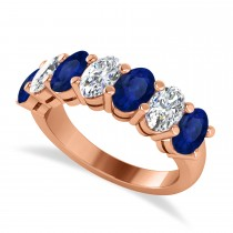 Oval Diamond & Blue Sapphire Seven Stone Ring 14k Rose Gold (3.90ct)
