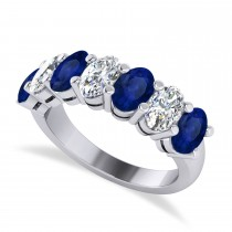Oval Diamond & Blue Sapphire Seven Stone Ring 14k White Gold (3.90ct)