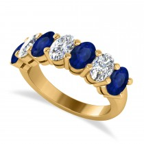 Oval Diamond & Blue Sapphire Seven Stone Ring 14k Yellow Gold (3.90ct)