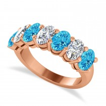 Oval Diamond & Blue Topaz Seven Stone Ring 14k Rose Gold (3.78ct)