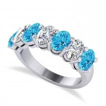 Oval Diamond & Blue Topaz Seven Stone Ring 14k White Gold (3.78ct)
