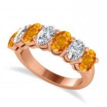 Oval Diamond & Citrine Seven Stone Ring 14k Rose Gold (3.30ct)