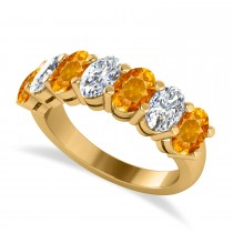 Oval Diamond & Citrine Seven Stone Ring 14k Yellow Gold (3.30ct)