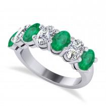 Oval Diamond & Emerald Seven Stone Ring 14k White Gold (3.58ct)