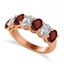 Oval Diamond & Garnet Seven Stone Ring 14k Rose Gold (3.70ct)