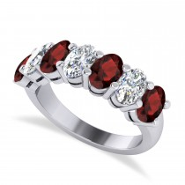 Oval Diamond & Garnet Seven Stone Ring 14k White Gold (3.70ct)