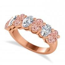 Oval Diamond & Morganite Seven Stone Ring 14k Rose Gold (3.10ct)