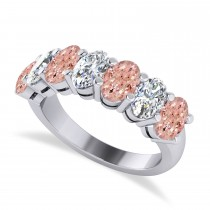 Oval Diamond & Morganite Seven Stone Ring 14k White Gold (3.10ct)