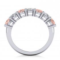 Oval Diamond & Morganite Seven Stone Ring 14k White Gold (3.10ct)|escape