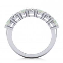 Oval Diamond & Opal Seven Stone Ring 14k White Gold (2.62ct)