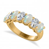 Oval Diamond & Opal Seven Stone Ring 14k Yellow Gold (2.62ct)