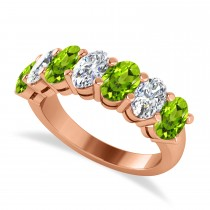 Oval Diamond & Peridot Seven Stone Ring 14k Rose Gold (3.50ct)