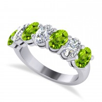 Oval Diamond & Peridot Seven Stone Ring 14k White Gold (3.50ct)