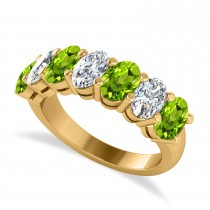 Oval Diamond & Peridot Seven Stone Ring 14k Yellow Gold (3.50ct)