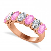 Oval Diamond & Pink Sapphire Seven Stone Ring 14k Rose Gold (3.90ct)