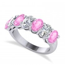 Oval Diamond & Pink Sapphire Seven Stone Ring 14k White Gold (3.90ct)