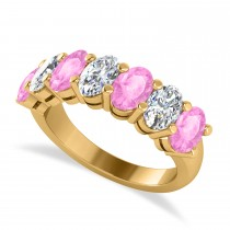 Oval Diamond & Pink Sapphire Seven Stone Ring 14k Yellow Gold (3.90ct)