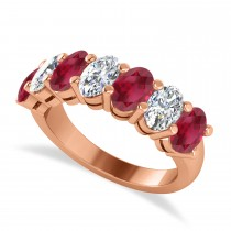 Oval Diamond & Ruby Seven Stone Ring 14k Rose Gold (3.90ct)