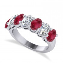 Oval Diamond & Ruby Seven Stone Ring 14k White Gold (3.90ct)